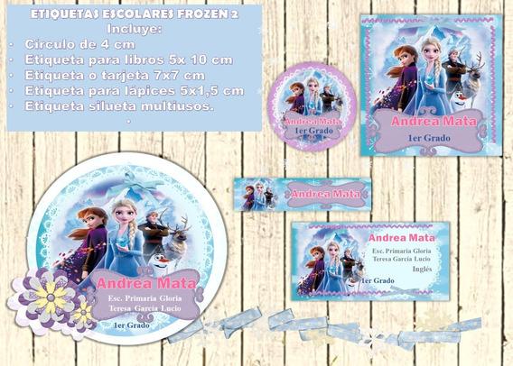 Kit Imprimible Etiquetas Escolares Frozen 2
