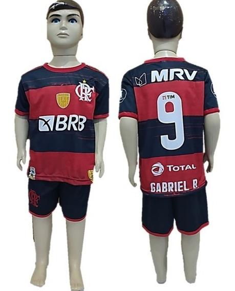 Conjunto Flamengo Infantil Uniforme Camisa E Shorts