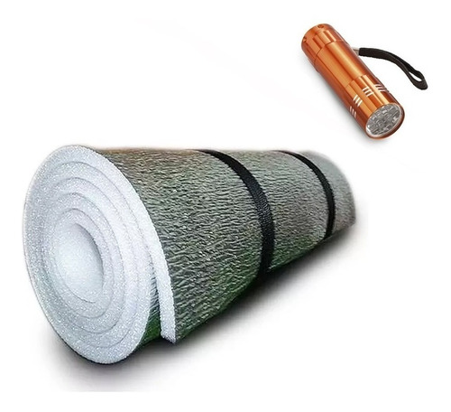 Imagen 1 de 9 de Combo Aislante Termico Aluminizado Para Bolsa + Linterna Led