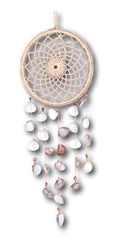 Filtro Dos Sonhos Em Crochê Com Conchas Natural Ref. 1030