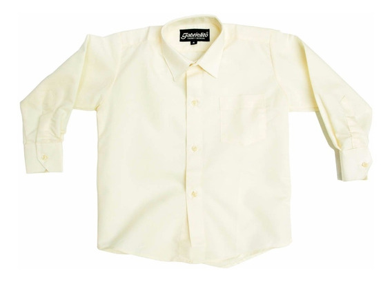 Camisa Manga Larga De Vestir Beige 4 6 8 Con Tirantes Y Moño