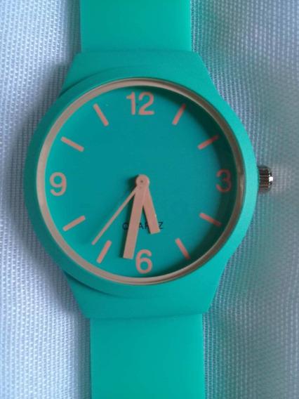 Relógio Colorido Quartz Azul Turquesa Moda