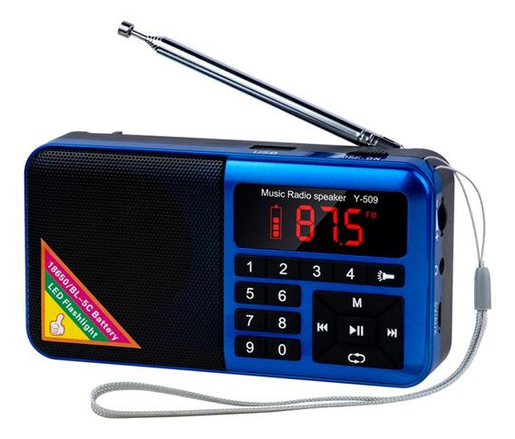 Y-509 Rádio Fm Portátil Mini Alto-falante Digital Raido Com