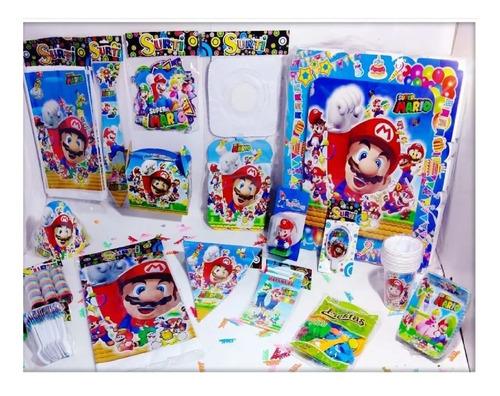 Kit Decoración Infantil Mario Bros 12 Invitados Niños