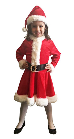 Disfraz Vestido Santa Claus Niña Envío Gratis