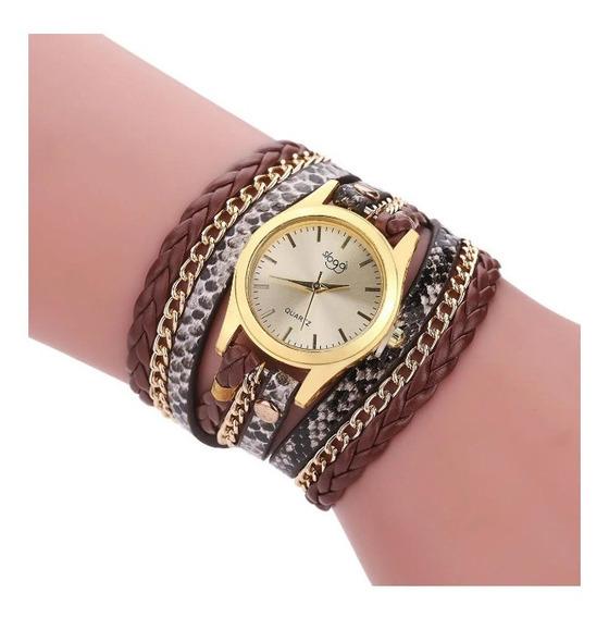 Relógio Feminino Dourado Bracelete Pulseira Duas Voltas