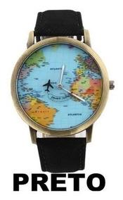 Relógio De Pulso Mapa Mundi Avião No Ponteiro De Segundos!