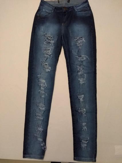 Calça Fem. Jeans Skinny Puídos Div. Cores E Modelos Ref.c9a3