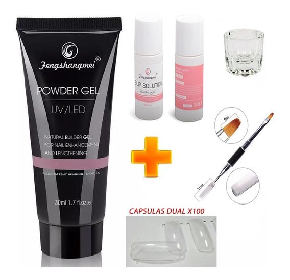 Combo 1 Polygel Powder Gel 50ml Uv/led + Pincel + Solución