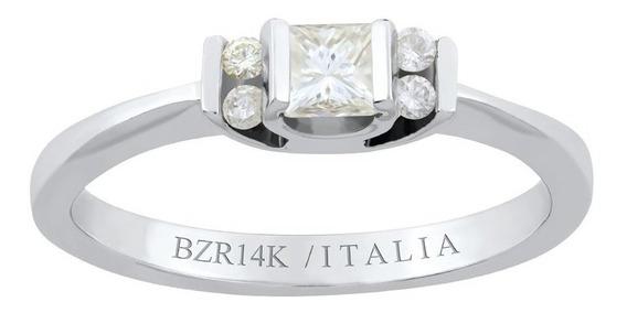 Anillo Bizzarro De Compromiso De Oro Blanco Con 1 Diamante C