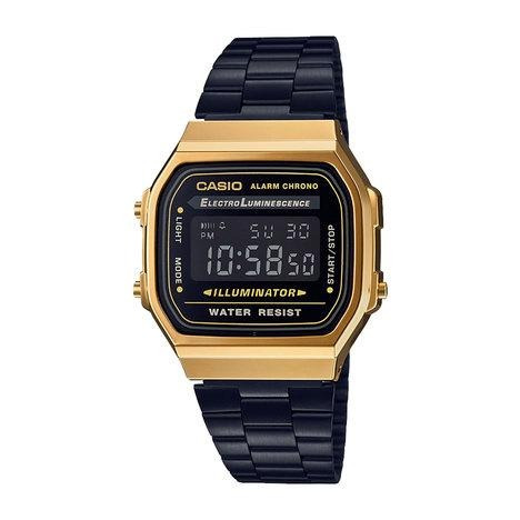 Relógio Casio Feminino Vintage A168wegb 1bdf Preto E Dourado