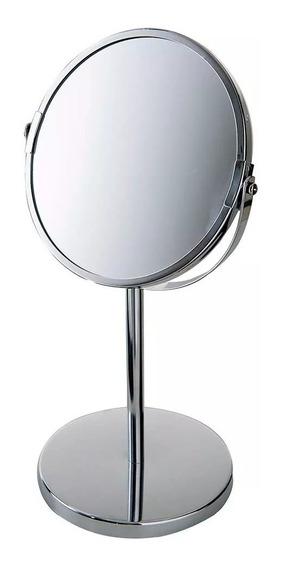 Espelho De Aumento Mor 8481 Giratorio Dupla Face Inox