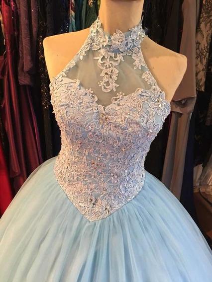 Vestido 15 Años Importado Talle M Celeste Fancy Kleid
