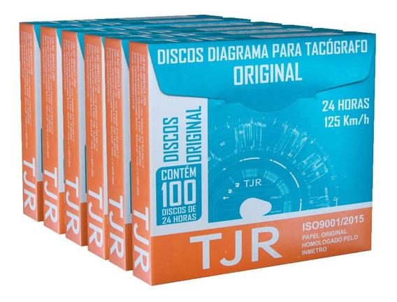 Disco Para Tacógrafo 24h Tjr - 6 Caixas Com 100 Discos