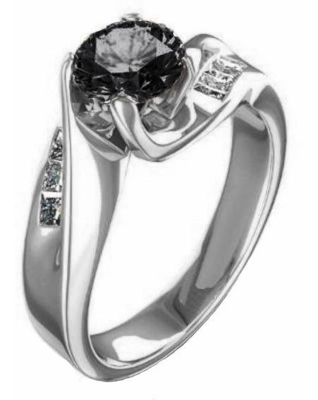Anillo Diamante Negro Y Blancos Naturales De Mina .83ct 14kt