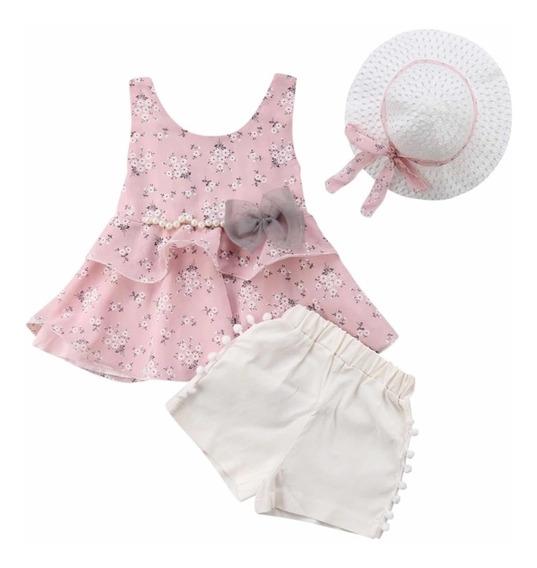 Conjunto Niña ( Blusa, Short Y Sombrero) Talla 2 - 7 Años