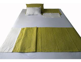 México - Pie D Cama Verde Con Blanco. 220x60cm+cuatro Fundas