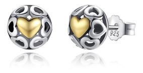 Brinco Feminino De Prata 925 + Coração Banhado Ouro 18k 7mm