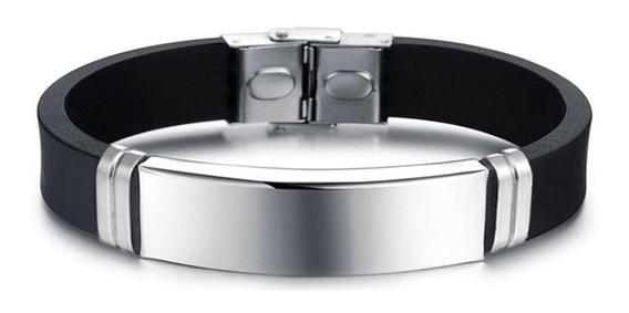 Pulseira Bracelete Masculino Silicone Placa Lisa Aço Inox