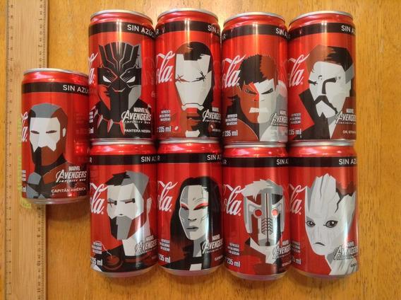 9 Latas Coca Cola Avengers Mini 235 Ml Hulk Iron Man Thor