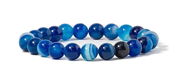 Pulseira Pedra Agata Azul - Unissex - Pedras Naturais
