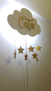 Velador Led Infantil Nube Con Colgantes Personalizado