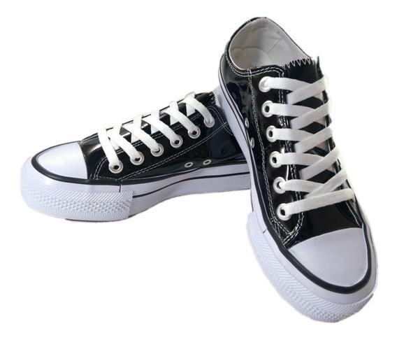 Zapatillas Dama Mujer Con Plataforma Charol Negro Nº 35/ 40