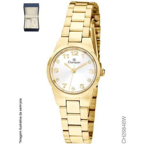 Relógio Feminino Champion Dourado Ch26846w + Kit Bijuteria
