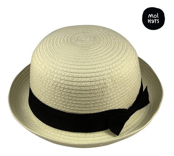Sombrero Bombín Tipo Rafia Verano Sol Diseño Bowler Mujer