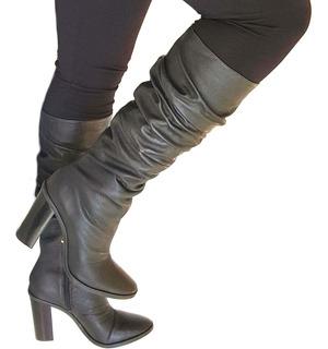 Bota Feminina Cano Longo Over Knee Salto Grosso 9,5cm Couro