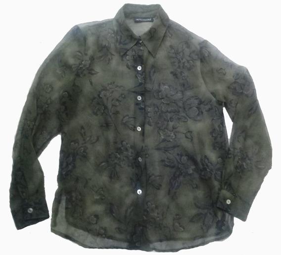 Camisa Estampada Transparente, Talle M.