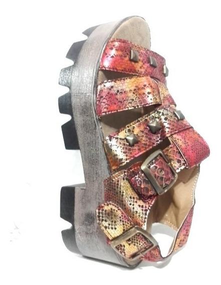 Sandalias Plataforma Simil Madera Fiorcalzados Mujer Moda