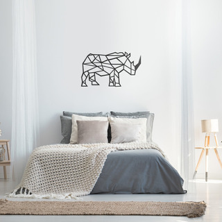 Quadro Decorativo Parede Animal Rinoceronte Minimalista 60cm
