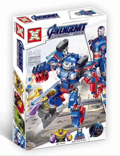 Avengers Thanos Vs Iron Patriot 2 En 1 Simil Lego + Envio