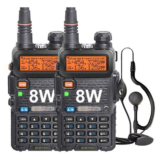 Kit 2 Handy Baofeng Uv5r 8w Bibanda Radio Walkie Talkie Vhf Uhf + Auricular Manos Libres