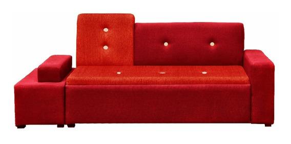 Sofá Toledo Tapiz Tipo Lino-rojo