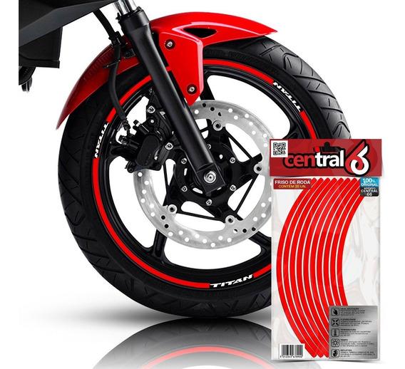 Friso Honda Titan 160 Vermelho Refletivo Adesivo Filete Roda