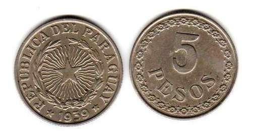 Moneda De Paraguay 5 Pesos Año 1939 Muy Buena