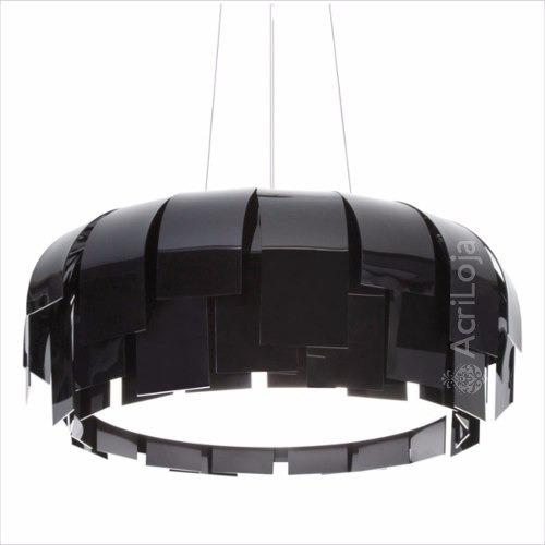 Luminária Lustre Pendente Myrrha Acrílico Preto 60 Cm 4 Lamp