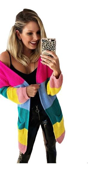 Kimono Cardigan Casaco Listrado Colorido Rainbow Inverno