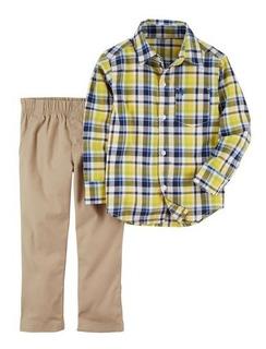 Conjunto 2 Peças Camisa Xadrez E Calça - 24m