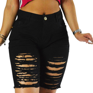 Bermuda Sol Jeans Destroyed Comprida Com Lycra Preta