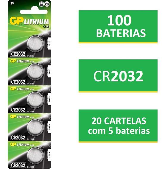 100 Baterias Gp Batteries Lithium 3v Tipo Moeda 220mah