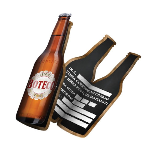 Imagem 1 de 1 de Convite Grande Garrafa Cerveja Festa Do Boteco 40 Unidades