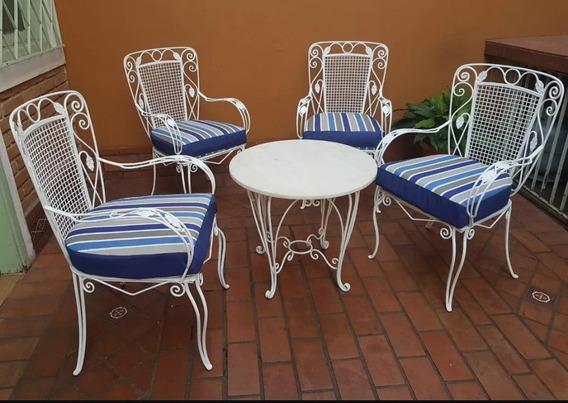 Mesa Com 4 Cadeiras Em Ferro Decorativas Jogo De 4 Cadeira