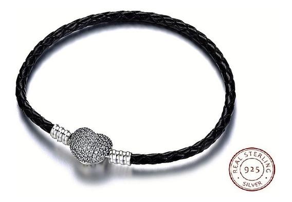 Pulseira Bracelete Feminino Em Couro E Prata 925 Coração