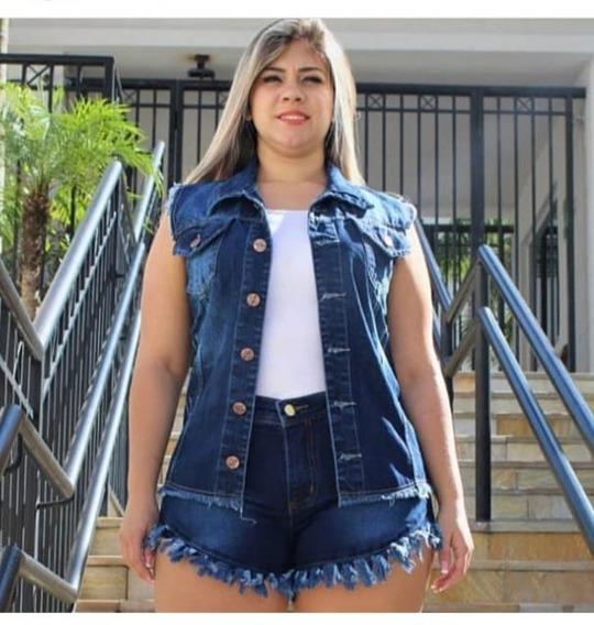 Casaco Plus Colete Feminina Rasgadinho Moda Verão