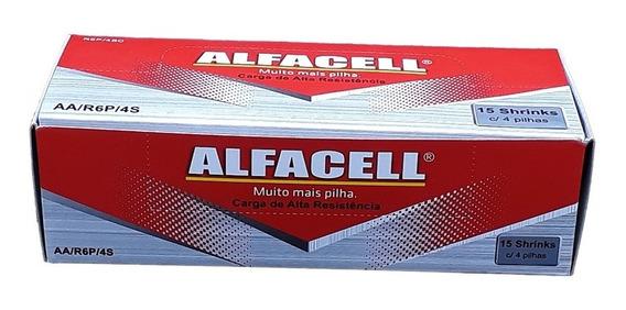 Pilha Alfacell Normal Aa 2a R6p 1,5v Caixa 60 Uni. Atacado