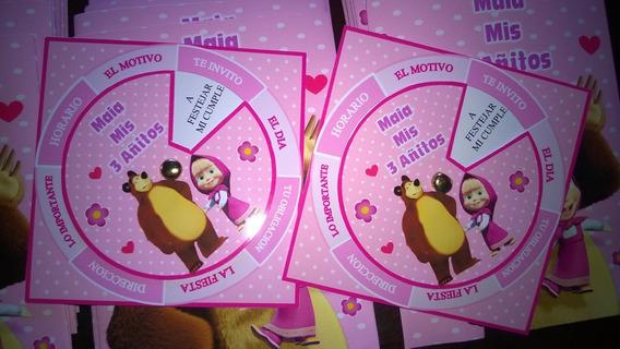Tarjetas Invitaciones Personalizadas Masha Y El Oso X 30