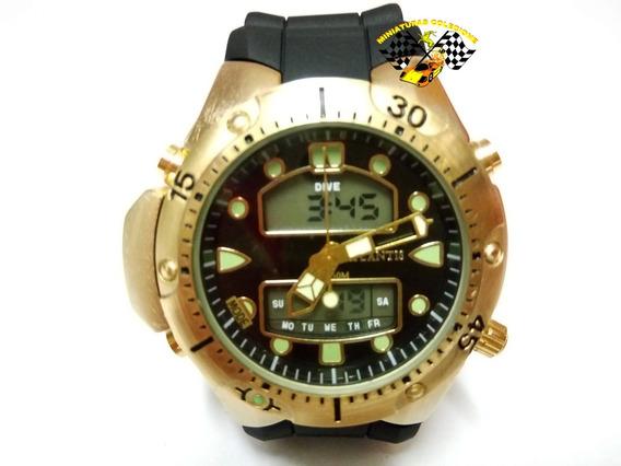 Relógio Masc Atlantis G3154 Aqualand 1060 Fundo Preto Peq.